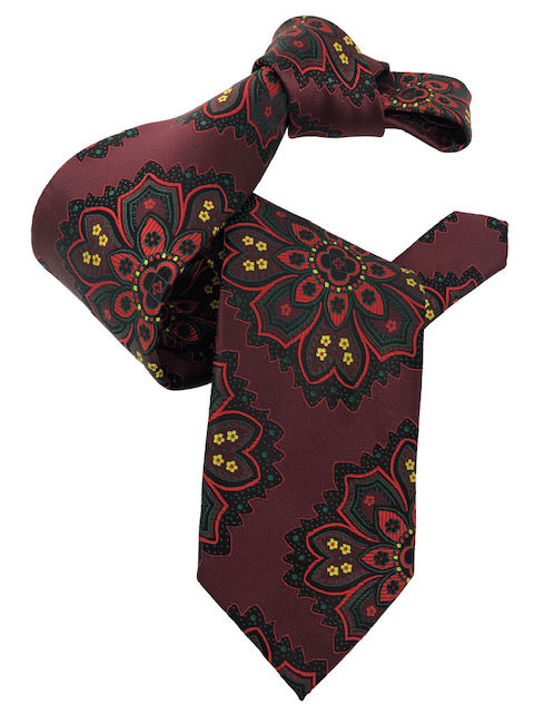 DMITRY 7-Fold Burgundy Patterned Italian Silk Tie