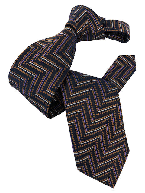 DMITRY 7-Fold Brown Patterned Italian Silk Tie