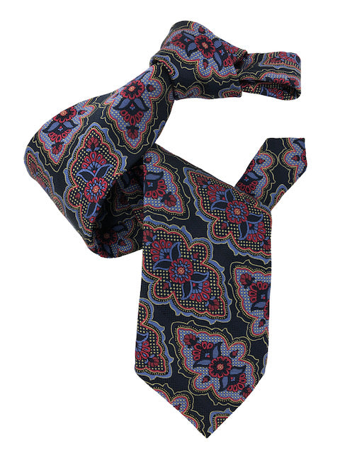 DMITRY 7-Fold Navy Patterned Italian Silk Tie