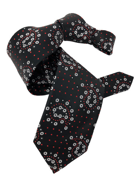 DMITRY 7-Fold Black Patterned Italian Silk Tie