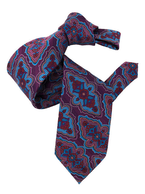 DMITRY 7-Fold Magenta Patterned Italian Silk Tie