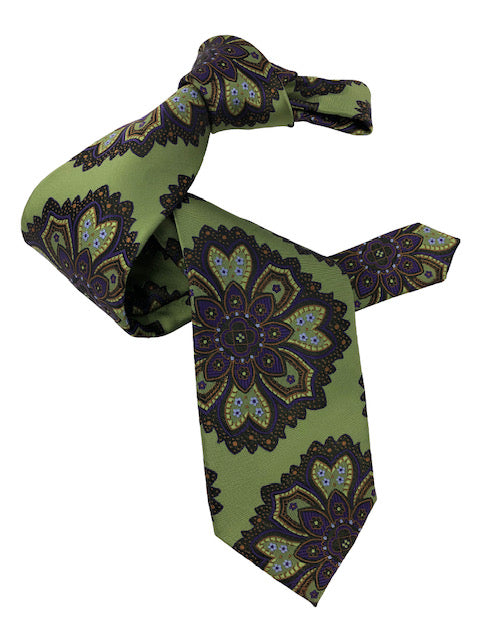 DMITRY 7-Fold Green Patterned Italian Silk Tie