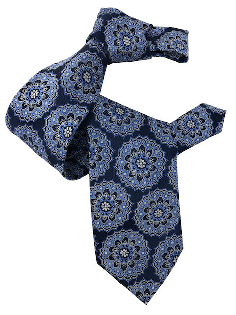 DMITRY 7-Fold Blue Patterned Italian Silk Tie