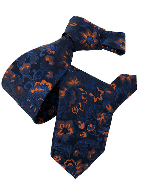 DMITRY 7-Fold Navy/Orange Floral Italian Silk Tie