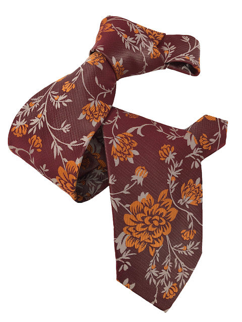 DMITRY 7-Fold Orange Floral Italian Silk Tie
