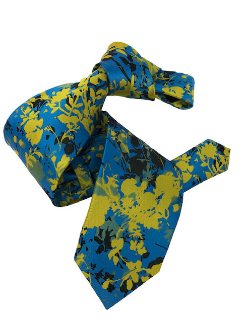 DMITRY 7-Fold Teal Patterned Italian Silk Tie