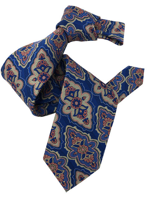 DMITRY 7-Fold Royal Blue Patterned Italian Silk Tie