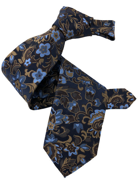 DMITRY 7-Fold Blue/Brown Floral Italian Silk Tie