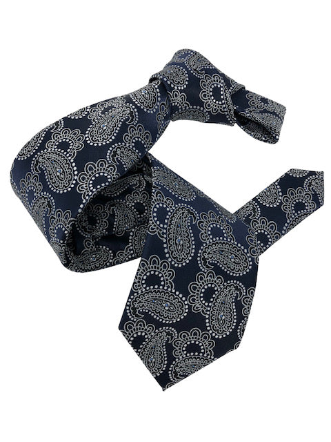 DMITRY Men's Navy Paisley Italian Silk Tie