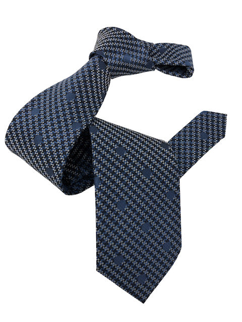 DMITRY Men's Blue Polka Dot Patterned Italian Silk Tie