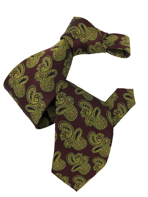 DMITRY 7-Fold Burgundy/Green Paisley Italian Silk Tie