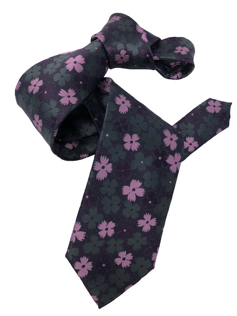 DMITRY Men's Purple Patterned Italian Silk Tie