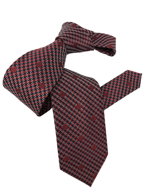 DMITRY Men's Red Polka Dot Patterned Italian Silk Tie