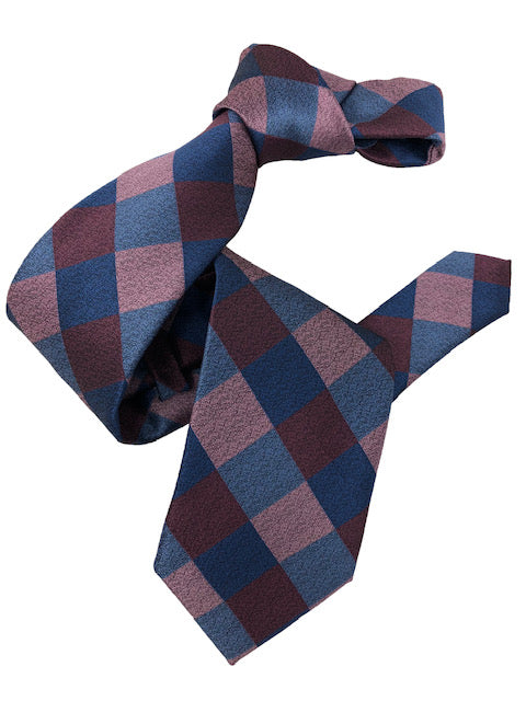 DMITRY Men's Pink/Blue Patterned Italian Silk Tie