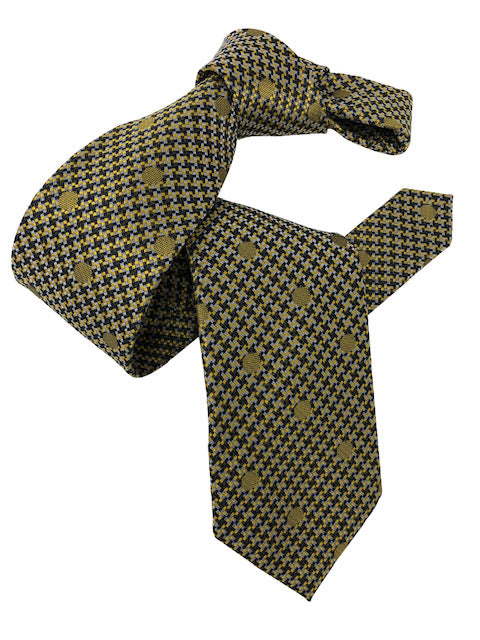 DMITRY Men's Yellow Polka Dot Italian Silk Tie
