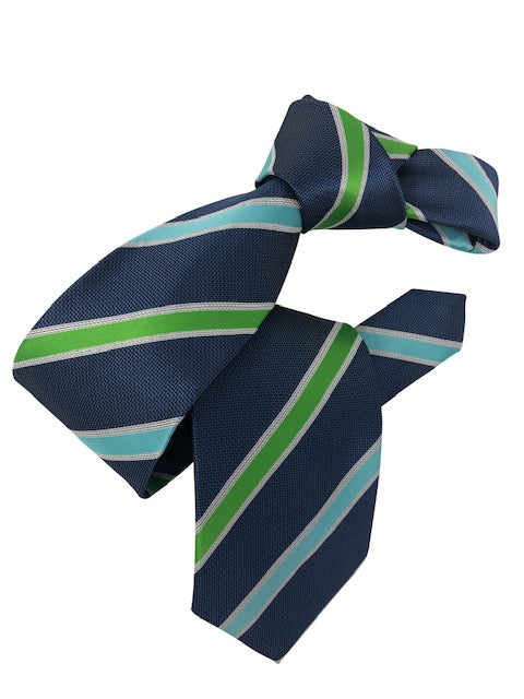DMITRY Men's Blue Striped Italian Silk Tie