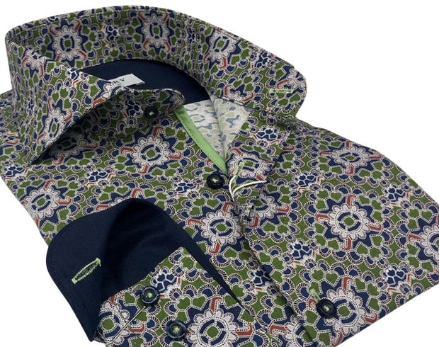 DMITRY Italian Green Patterned Cotton Men's Long Sleeve Shirt