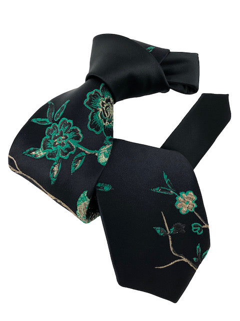 DMITRY 7-Fold Black Hand-Embroidered Limited Edition Italian Silk Tie