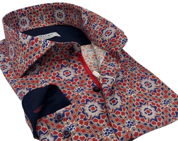 DMITRY Italian Red Patterned Cotton Men's Long Sleeve Shirt