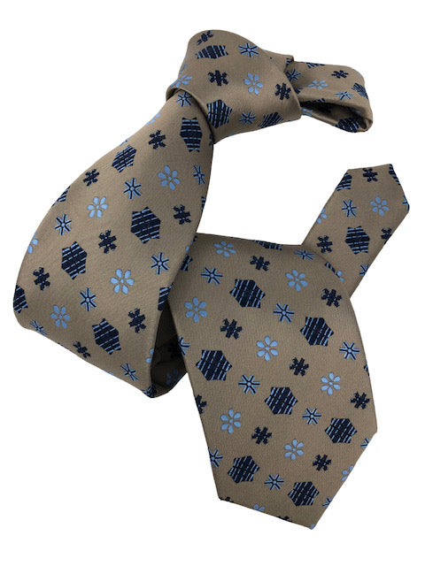 DMITRY Men's Sand/Blue Patterned Italian Silk Tie