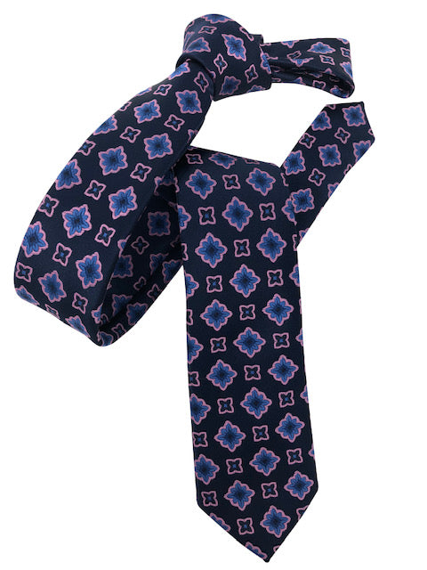 DMITRY Navy Patterned Italian Silk Skinny Tie