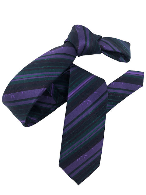 DMITRY Purple/Green Striped Italian Silk Skinny Tie