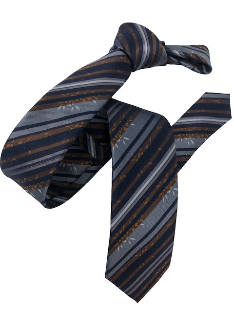 DMITRY Grey/Navy Striped Italian Silk Skinny Tie
