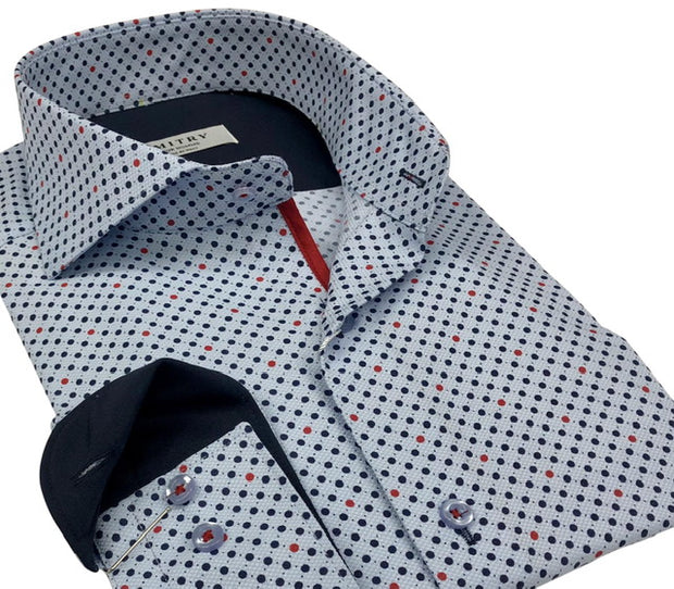 DMITRY Italian Light Blue Polka Dot Patterned Cotton Men's Long Sleeve Shirt