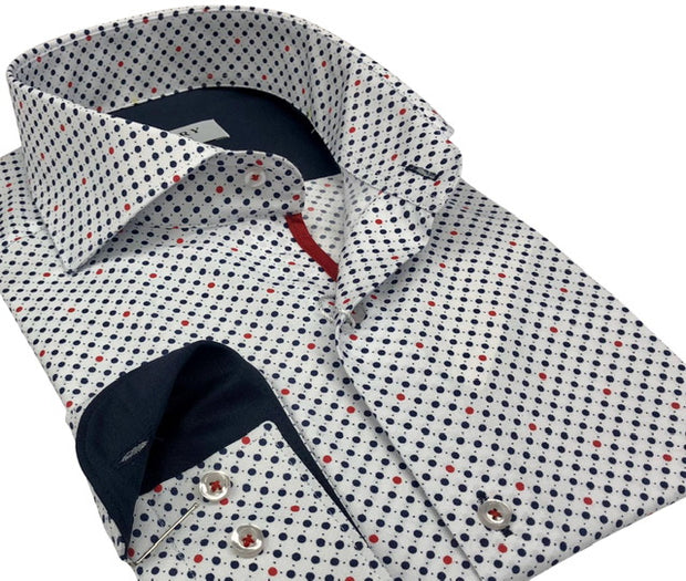 DMITRY Italian White Polka Dot Cotton Men's Long Sleeve Shirt