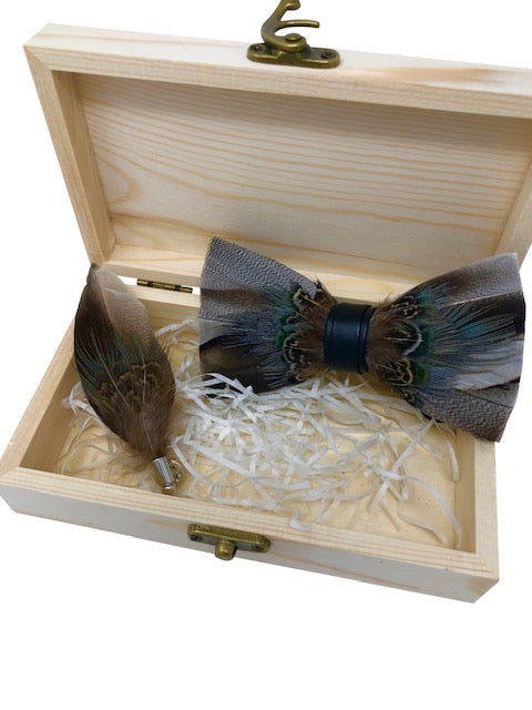 Handmade Feather Brown/Grey Patterned Pre-Tied Bow Tie & Lapel Pin Set