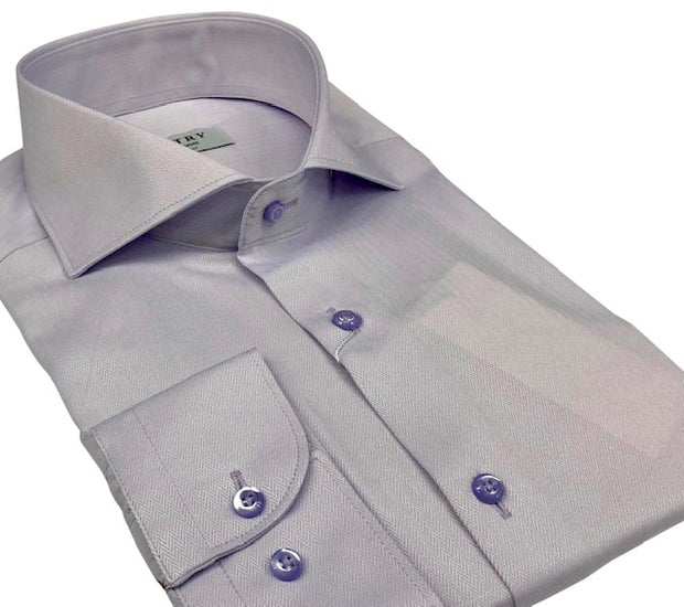 DMITRY Italian Lavender Herringbone Cotton Men's Long Sleeve Shirt