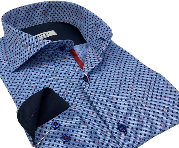 DMITRY Italian Blue Polka Dot Cotton Men's Long Sleeve Shirt