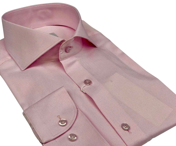 DMITRY Italian Pink Herringbone Cotton Men's Long Sleeve Shirt