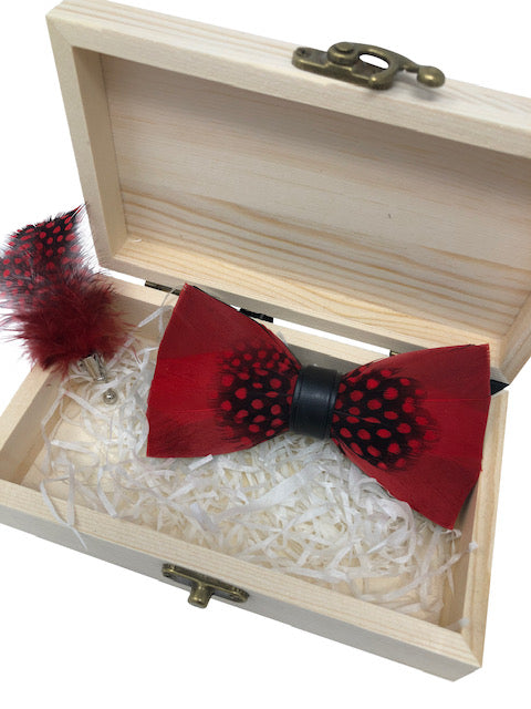 Handmade Feather Red Patterned Pre-Tied Bow Tie & Lapel Pin Set