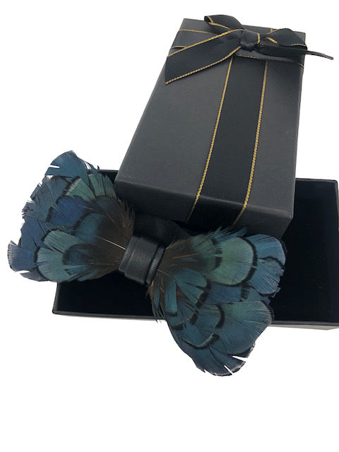 Handmade Feather Green Patterned Pre-Tied Bow Tie
