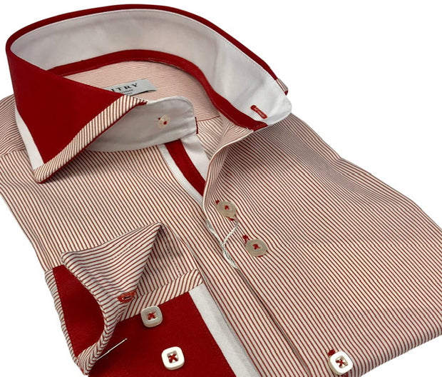 DMITRY Italian Red Striped Cotton Men's Long Sleeve Shirt
