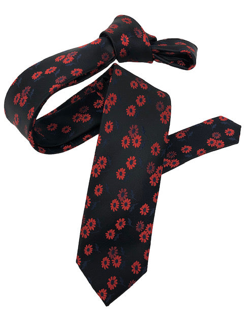 DMITRY Men's Black/Red Patterned Italian Silk Skinny Tie