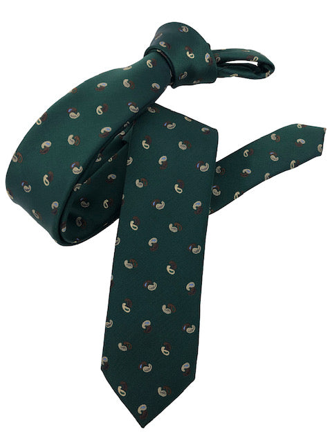 DMITRY Men's Green Patterned Italian Silk Skinny Tie