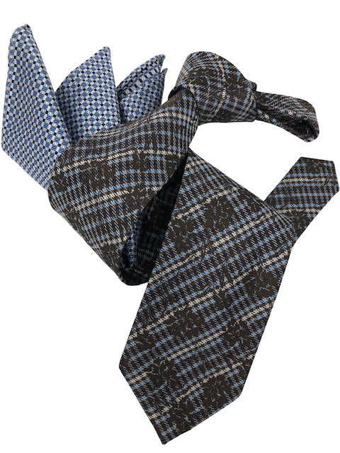 DMITRY Men's Brown Patterned Italian Silk Tie & Pocket Square Set