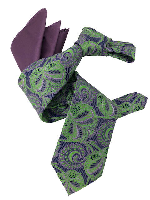 DMITRY 7-Fold Men's Green/Purple Patterned Italian Silk Tie & Pocket Square Set