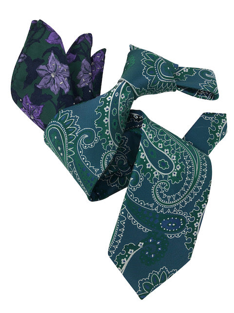 DMITRY 7-Fold Men's Green Paisley Italian Silk Tie & Pocket Square Set