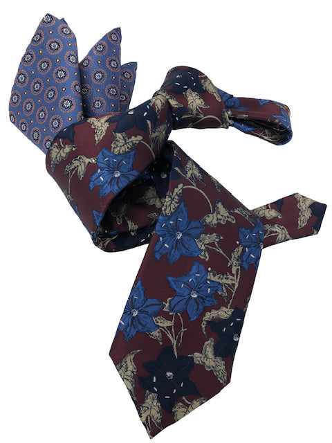 DMITRY 7-Fold Men's Burgundy Floral Italian Silk Tie & Pocket Square Set