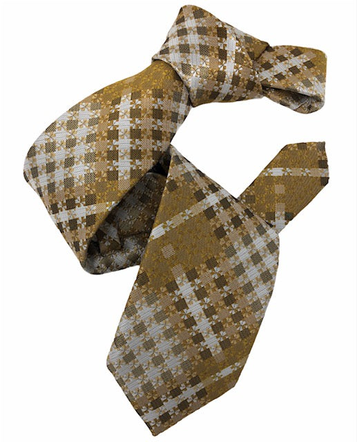 DMITRY Men's Gold Patterned Italian Silk Tie