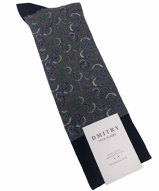 DMITRY Navy Patterned Made in Italy Mercerized Cotton Socks