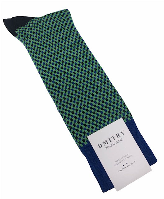 DMITRY Green Patterned Made in Italy Mercerized Cotton Socks