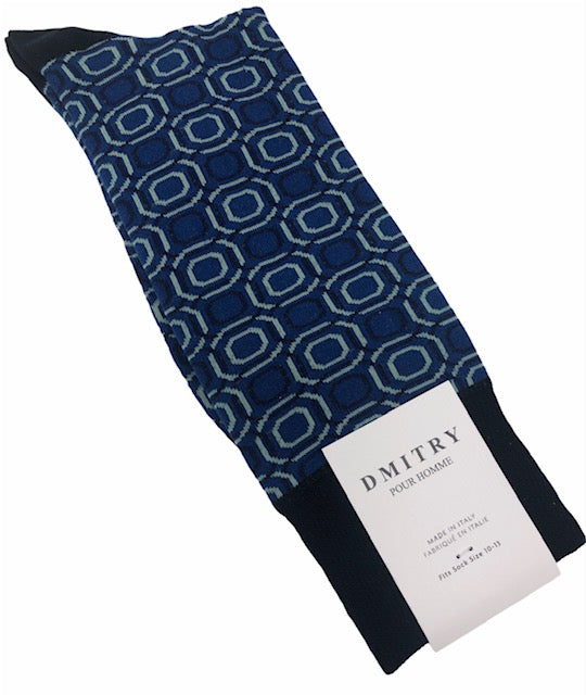 DMITRY Blue Patterned Made in Italy Mercerized Cotton Socks