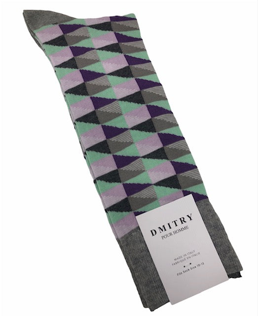 DMITRY Multi-Colored Pattern Made in Italy Mercerized Cotton Socks