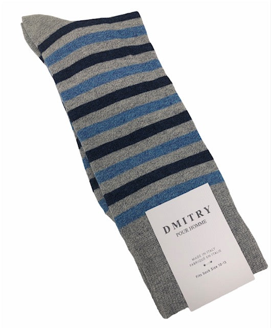 DMITRY Blue/Grey Striped Made in Italy Mercerized Cotton Socks