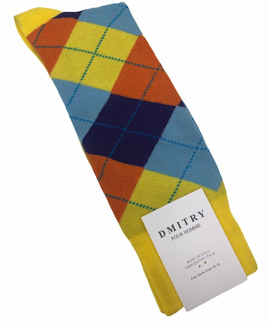 DMITRY Argyle Patterned Made in Italy Mercerized Cotton Socks