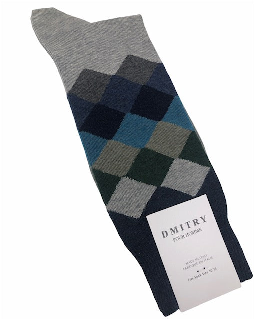 DMITRY Grey Patterned Made in Italy Mercerized Cotton Socks